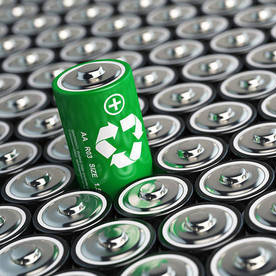 image of new recycled batteries