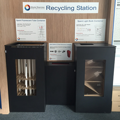 image of waste diversion recycling station